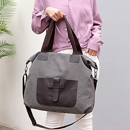 Color : Purple-Coffee QXU-DIMDIM Canvas Handbags Fashion Cloth Bag Shoulder Bag Wild Casual Mobile Messenger Bag