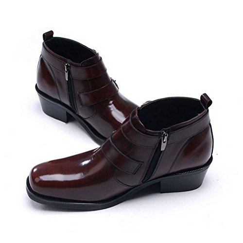 Leather Zip Brown Formal EpicStep Boots Ankle Dress Genuine Shoes Casual Men's rFw0W4wqvY