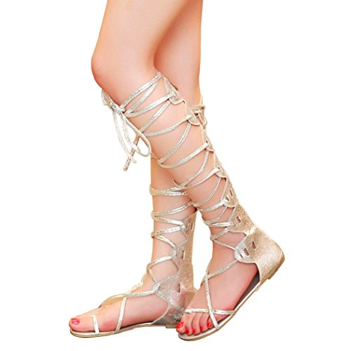 Finejo Women's Open Toe Knee High Gladiator Sandals Lace Up Flat Shoes