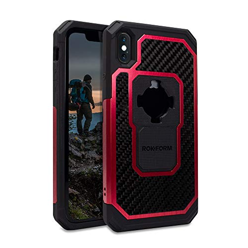 Rokform Fuzion Pro Series [iPhone XS Max] Protective Aluminum & Carbon Fiber Magnetic case with Twist Lock Insert Included (Red)