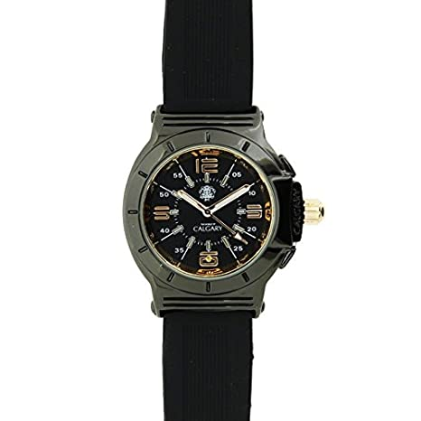Relojes Calgary Richmond Hill. Reloj clásico para Mujer. Esfera Negra y Dorada y Correa Color Negra: Amazon.es: Relojes