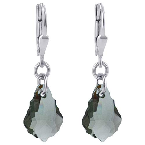 - 925 Sterling Silver Baroque Shape Clear Leverback Drop Earrings Handmade with Swarovski Crystals