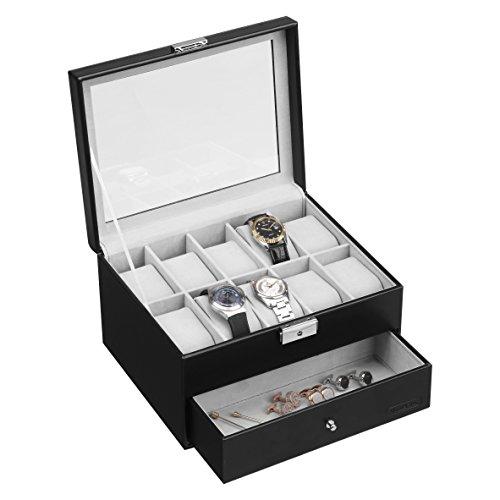 Designer Watch (VonHaus Black Faux Leather 10 Watch and Cufflink/Jewelry Display Box with Drawer)