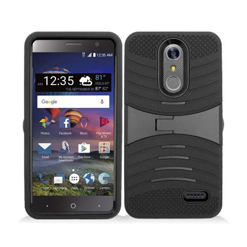 Phone Case for ZTE ZMAX One LTE Z719DL / ZTE Blade Spark 4G AT&T Prepaid Smartphone, ZTE Grand X4 (Cricket Wireless) Case, Heavy Duty Hard Armor Cover Shockproof Case Kickstand (Black-Black) (Zte Grand Cricket Phone Cases)
