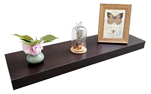 """Homewell Wood Floating Shelves for Home Decoration - Material: MDF Robust metal mounting bracket rod (diameter: 3/4"""") and metal anchor can hold the shelf panel steady. No visible screw or support bracket, make the shelf appear to be floating. - wall-shelves, living-room-furniture, living-room - 41cK0SUCviL -"""