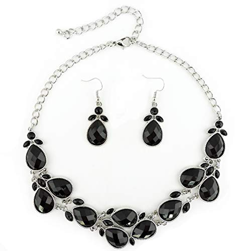 Firstmeet Shiny Resin Drill Collar Necklace with Earrings (Black-bk) ()