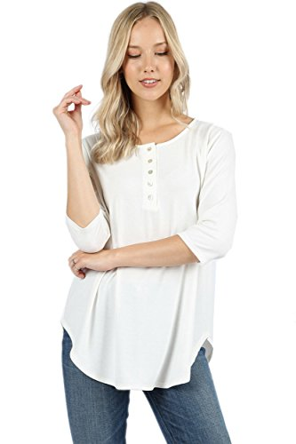 Ollie Arnes Women's Warm Solid Long Sleeve Thermal Cotton Knit Henley Tops 7_Ivory (Ivory Thermal Shirt)