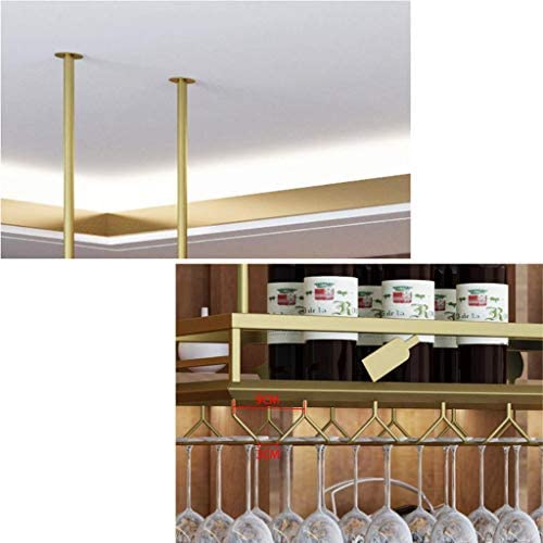 TIANPIN Golden Stainless Steel Wine Rack Adjustable Height,Hanging Wine Glass Holder Multifunction,Simple Home Stemware Storage Cup Holders