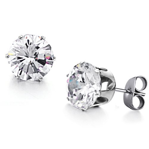 OPK Fashion Jewelry W/10-color Cz Stones Woman's Stainless Steel Earrings(white Big)