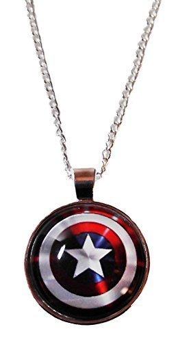 Marvel Comics CAPTAIN AMERICA Logo Shield Glass Dome PENDANT on 20 -