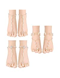 LOLIAS 3 Pairs Ankle Bracelets for Women Girls Barefoot Sandal Anklet Beach Foot Jewelry