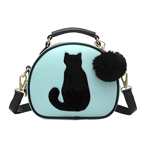 QZUnique Women's PU Leather Small Round Cat Style CrossBody Purse Cartoon Tote Convertible Satchel - Convertible Handbags Satchel