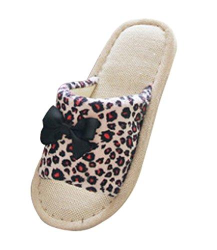 Zapatillas De Mujer Cattior Leopard Bow House Slippers Rojo