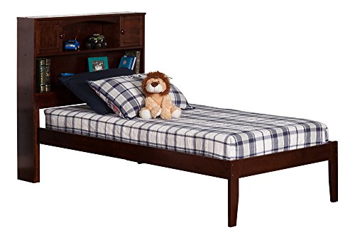 Atlantic Furniture AR8521004 Newport Platform Bed with Open Foot Board, Twin, Walnut, Antique