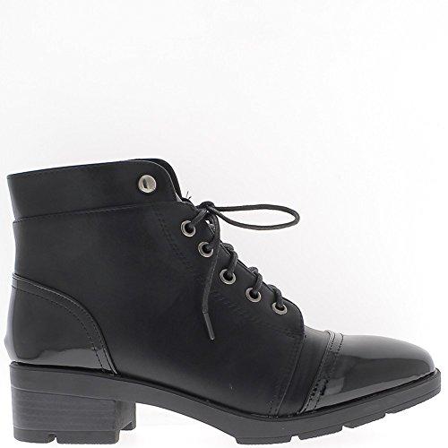Las mujeres negras botas 4,5 cm tacón y suela de 1.5 cm