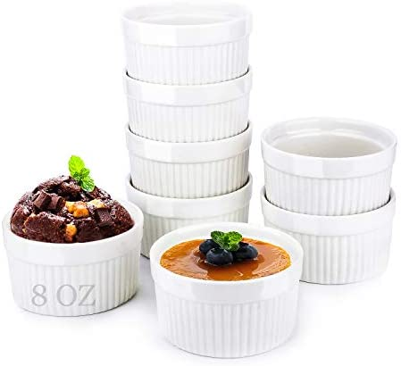 Yachi White Souffle Ramekins: 4oz 6 Pieces Ceramic Baking Ramekin Set Oven Safe Stoneware Bakeware Serving for Sauces Dipping Mini Custard Flan Pudding Lava Cake Onion Soup Creme Brulee