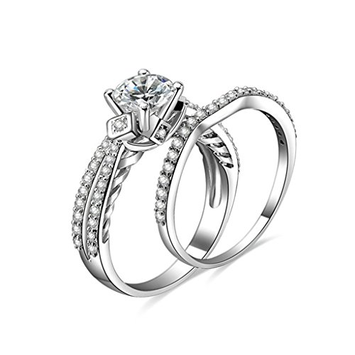 MoAndy 925 Sterling Silver Ring, Sparkling CZ Wedding Ring Set Diamond Shape Promise Ring Sz 10