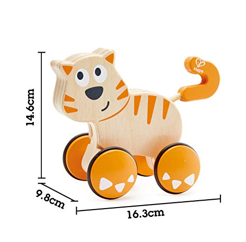 41cK2wp6vhL - HapeDante Push and Go| Wooden Push, Release & Go Cat Toddler Toy with Wheels