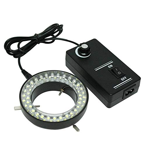 Moutec Microscope LED Ring Light with Dimmer, Stereo Microscope Illuminator, Shadow Free Cool Light Source