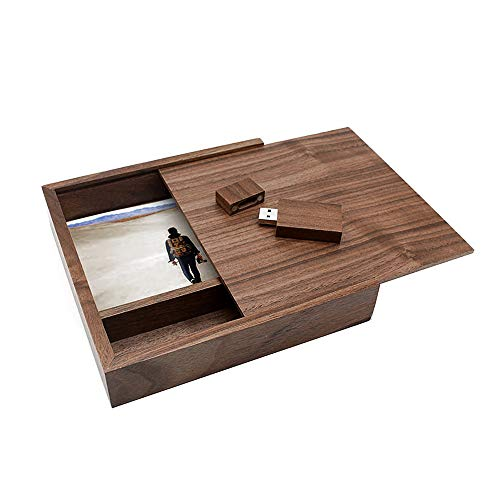 Ace one Walnut USB Flash Drive Memory Stick Thumb Drive with Large Walnut Photo Storage Print Box Hold 46 Photographs(up to 100 Novelty and Romantic Gift for Birthday Wedding or Other Festival (8GB)