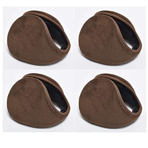 Neaer 4 PCS Unisex Men Women Faux Furry Fleece Winter Solid Soft Plush Ear Muffs Earmuffs Earwarmers,Coffee