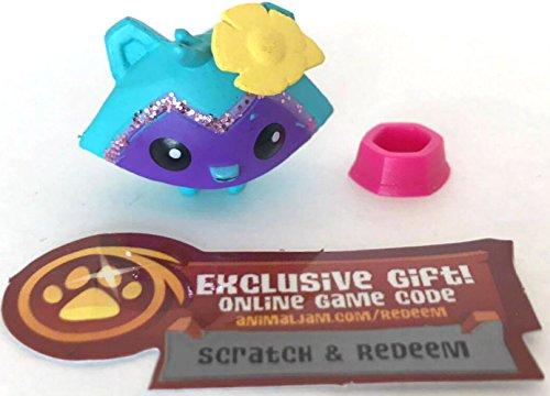 Animal Jam Series 1 Blue and Purple Raccoon 1-94 Gem and Unused Game (Purple Raccoon)