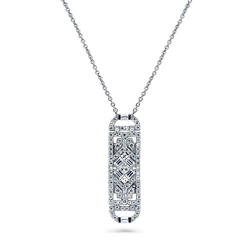 BERRICLE Rhodium Plated Sterling Silver Cubic Zirconia CZ Art Deco Bar Wedding Pendant Necklace