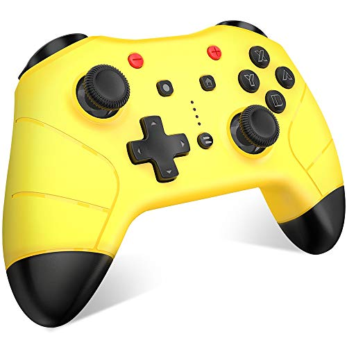 BEBONCOOL Wireless Controller for Nintendo Switch Pro Controller Remote with Motion Vibration Turbo Speed Function Dual Analog Sticks Controller with Bluetooth - Yellow