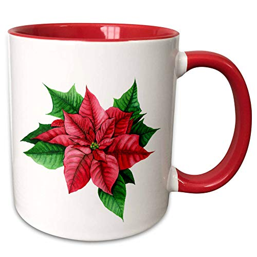3dRose Anne Marie Baugh - Illustrations - Pretty Image Of Watercolor Christmas Poinsettia Flower Illustration - 15oz Two-Tone Red Mug (mug_295515_10) -