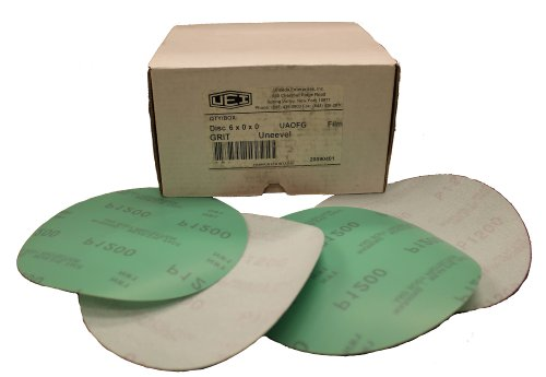 "Uneeda M-153216 UAOFG 3"" 1000 Grit Green Aluminum Oxide Film Uneevel Hook and Loop Disc, (Pack of 200)"
