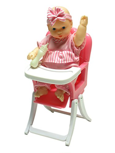 Li'l Cutie Pie Baby Girl Doll with Bottle in High-Chair Playset by Lovee - High-Chair Transforms to Rocking-Chair!
