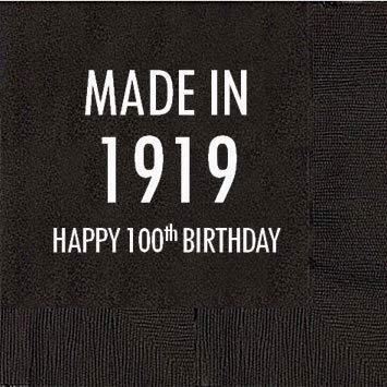 100th Birthday Black Cocktail Napkins - Made in 1919 (50 napkins)