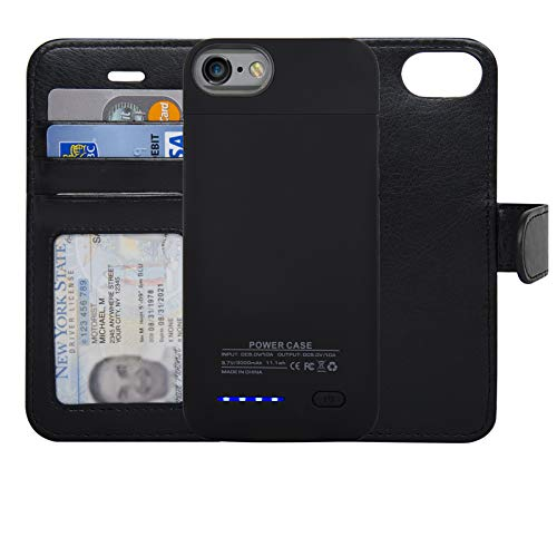 navor RFID Folio Wallet Magnetic Detachable Power Battery Case 3000mAh Compatible for iPhone 6/7 / 8 [4.7 Inch] - Black