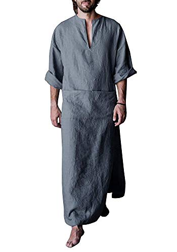 Taoliyuan Mens Abaya Muslim Thobe Linen Hooded Henley for sale  Delivered anywhere in USA