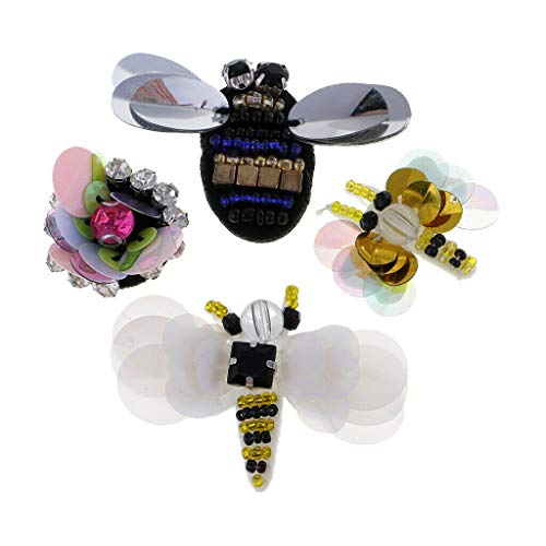 4Pcs Rhinestone Bee Dragonfly Beaded Patch Sewing on Applique DIY Decoration (Best Stylus For Puzzle And Dragons)