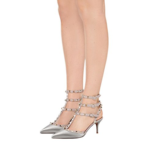 Low Silver Sandals Rivets Heels with Shoes Women Rockstuds Dress pattern Strappy MERUMOTE Heel pqv455
