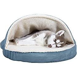 FurHaven Pet Dog Bed   Orthopedic Round Faux Sheepskin Snuggery Burrow Pet Bed for Dogs & Cats, Blue, 26-Inch