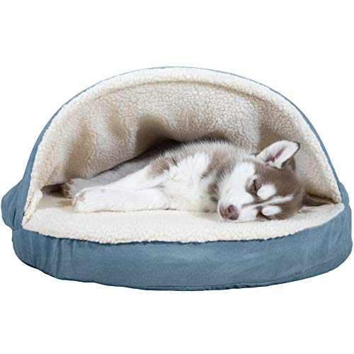 - FurHaven Pet Dog Bed | Orthopedic Round Faux Sheepskin Snuggery Burrow Pet Bed for Dogs & Cats, Blue, 26-Inch