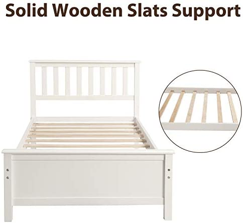 Harper&Bright Designs Wood Platform Bed with Headboard, Footboard, Wood Slat Support, No Box Spring Needed(Twin, White) 41cK4jBLCSL