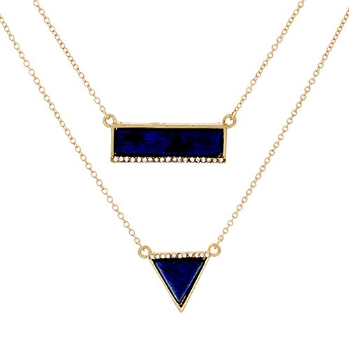(Cate & Chloe Annabelle Magical Gold Statement Necklace, Unique Trendy Blue Triangle Rectangular Yellow Gold Necklaces for Women, Fashion Statement Necklace for Girls, CZ Necklace)