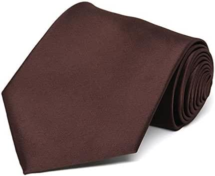 TieMart Brown Extra Long Solid Color Necktie