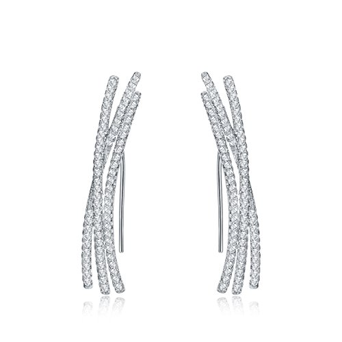 (Silver Earring Crawler,Sterling Silver 14K Silver Plated Cubic Zirconia Ear Climber Cuff Wraps Pin Post Earring for Women)