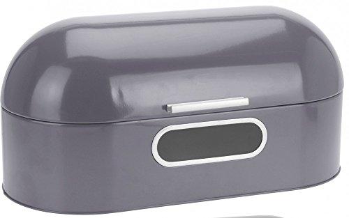 Brotkasten Brotbox Brotkiste Klappdeckel Sichtfenster Metall 43x20x22cm, Farbe:Grau