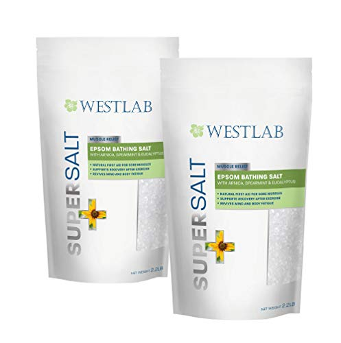 Epsom Salt SuperSalt (2 Pack) with Arnica, Spearmint and Eucalyptus - Muscle Relief. Use after Sports/Post-Workout. Foot Soaking & Relaxation.