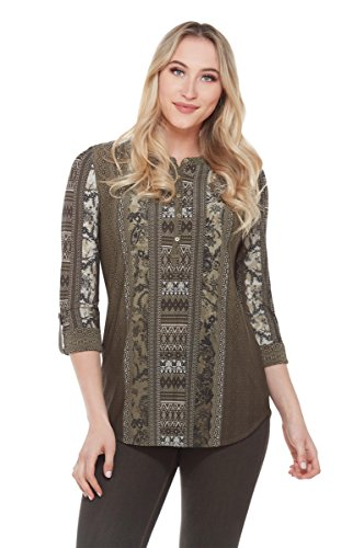 Petite Split Back Henley Tunic Olive Tile PM