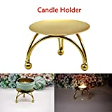 VNEIRW Round Iron Candle Holder Mirrored Tray Plate Triangle Stool Design Tealight Candle Plate Gold Copper - Desktop Decoration (Gold)