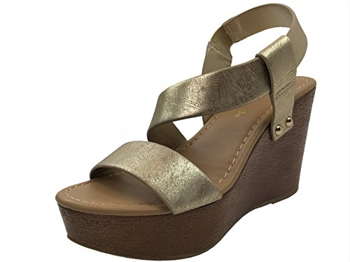 Open Toe Wedge Ankle Cross Over Strap Bootie Sandal, Gold, 7.5 (Classified Womens Shoes Wedge)