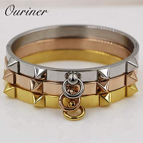 Fashionable Stainless Steel Pyramid Rose Gold Bracelets | for Women
