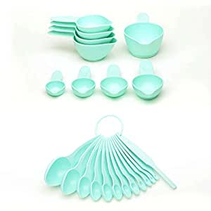 22 Piece Ice Blue Spoon And Cup Set, Plastic Material, Dishwasher Safe Care Instruction, 9 Inch Long x 6 Inch Wide x 4 Inch Deep, Essential Measuring Tools, Simple Look