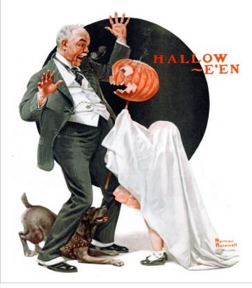 1979 Norman Rockwell 'Halloween, 1920' Americana Vintage Print Wall Art -